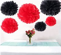 Wholesale 12PCS Fluffy Red Black Party Tissue Pom Poms Wedding Decorative Flower Pompoms Engagement Anniversary Party Decoration