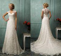 designer wedding dresses - 2015 Stunning White Lace Wedding Dresses A Line V Neck Sweep Train Cap Sleeveless Simple Fashion Designer Bridal Gowns