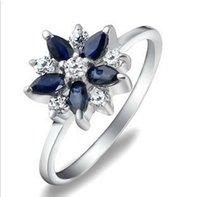 al por mayor anillo de diamante natural de oro blanco-zafiro de la joyería anillo de compromiso, anillo de zafiro natural, oro blanco, oro anillo de diamantes para el uso diario