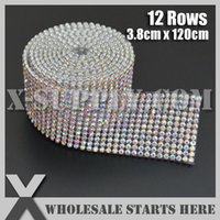 ab crystal cake banding - Rows Rhinestone Banding Trim Crystal AB Rainbow Color Rhinestones For Bridal Dress Cake and Wine Standing