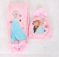 Wholesale Girls christmas gifts Pink frozen scarf hat set frozen scarves hat Anna Elsa Children knit Accessories kids girl hats scarves sets set
