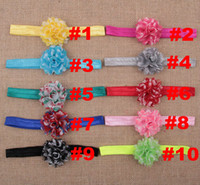 chevron fabric - 2015 New stock baby girls chevron chiffon tull fabric flowers with elastic headbands color FDA23