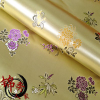 Wholesale The brocade fabric Ancient costume hanfu COS clothing cheongsam fabric cloth brocade shallow gold DeJin bamboo flowers