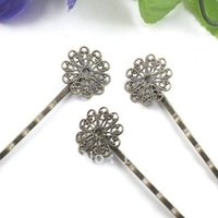 Wholesale BUY Antique Bronze Gemstones Cameo Base Back Bobby Pin mm with mm Pad Jewelry Findings Accessories rose