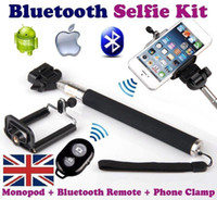 Wholesale For iphone6 s iphone5 s Self Timer Extendable Handheld Selfie Monopod selfie stick Photograph Bluetooth Shutter Camera remote control