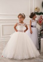 Wholesale 2016 Summer Flower Girl Dresses For Weddings Ball Gown Princess Floor Length White Lace Tulle Appliques Toddler Party Dresses Pageant Gowns