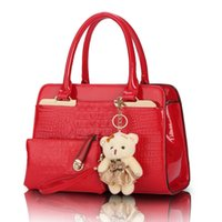 alligator soft toy - 2 bags set with bear toy European and American fashion casual alligator pattern handbag patent PU leather shoulder bag