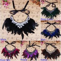 Bijoux Plume Lady Elegant Collier femme Déclaration strass Sautoirs Collier style Choisissez XL5771 * 1
