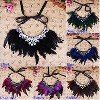 Wholesale Women Rhinestone Statement Necklace Elegant Lady Feather Jewelry Chokers Necklace Style Choose XL5771