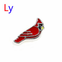 Wholesale sale floating charms floating locket silver red bird cardinal charm macaw RIO charms MFC035