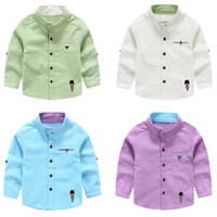 Wholesale Summer Striped Shirts For Boys - New High quality Comfort Boys embroidery long sleeve shirts Stand collar welt pocket Cotton t shirts for boy Kids Tops 2016 spring fall