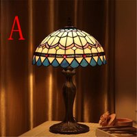 Wholesale Popular Vintage Table lamps Retro Garden Style Glass Table Lamp Creative Bedside Lamp Creative Study Room Cafe Bar Lamps