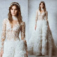 Wholesale New White Ball Gown Wedding Dresses High Neck Long Sleeves Lace See Through Tiered Feather Bridal Dress