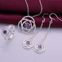 Wholesale Wedding Jewelry Sterling Silver AAA Zircon Jewelry Crystal Necklace Earrings Rings Set