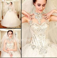 halter top wedding dress - 2015 Sexy New Halter Organza A Line Wedding Dresses Beade Crystals Top Cathedral Train Sparkling Bridal Gowns BO6655