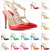 Wholesale Fashion rivets shoes high heeled pointed toe hasp thin heels sandals rivet pointed toe shoes female sandals colors available