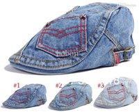 Wholesale Men Hats Pocket Design Denim Beret Cap Hip hop Hat Women Flat brimmed Hats Adjustable Hat Around Caps
