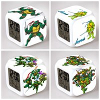 Wholesale 37 Styles Teenage Mutant Ninja Turtles Pattern Printed Cartoon LED Colors Flash Changing Alarm Clocks Kids Digital Bedroom Gifts