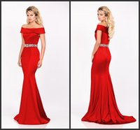 beaded stretch belt - 2015 Off The Shoulder Prom Formal Dresses Red Stretch Satin Mermaid Evening Party Dress Gold Rhinestone Beaded Belt KR Pageant Gowns