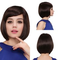 Wholesale 2015 Nice Human Hair Women Wigs Straight Style Dark Brown Short Wigs Sexy European Ladies Hairs For Drinking Banquet MMJ25