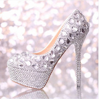 Wholesale 2015 Full crystal lady s formal shoes High Quality Women s cm High Heels Beaded Bridal Evening Prom Party Wedding shoe Bridesmaid Shoes