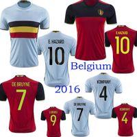 Wholesale Belgium Euro Soccer jersey LUKAKU home red away blue FELLAINI E HAZARD KOMPANY Belgium football shirt soccer jersey