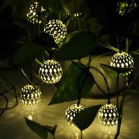 Wholesale Warm white Balls Set Moroccan String LED Fairy Lights Christmas Decoration LED Lamp Solar Powered