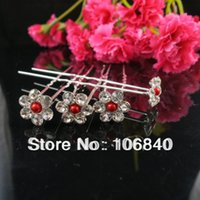 Wholesale Pearl Flower shape hairpins With Rhinestone Wedding Party Bridal Diamante Hair Pins