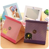 Wholesale Creative simple and lovely portable ultra thin square mirror large folding portable Princess desk desk top dressing mirror