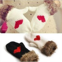 beautiful love knitting - winter women gloves lovely Super beautiful wild love heart mittens warm thick wool knitted gloves GP221214