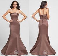 floor length satin dress - 2015 Cheap Trumpet Mermaid Strapless Floor length Satin Bridesmaid Dress High Quality