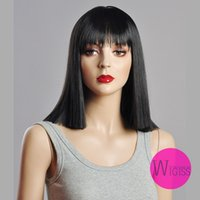 kanekalon wigs - Female Glamorous Charming fashion medium natural black straight Kanekalon Fiber Synthetic women Wig Hair fashion lady Wig Hair H9308Z