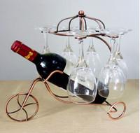 decorative glass wine bottle - Umiwe Decorative Wine Bottle Glasses Holder Hanging Upside Down Cup Goblets Display Rack Vintage Iron Wine Stand