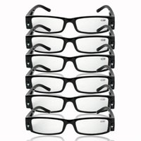 assorted eyeglasses - Reading Glasses With LED Light Assorted Magnifier Lightweight Unisex Eyeglass