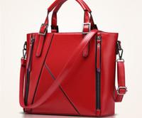Wholesale Women Genuine Leather handbags fashion new plain shoulder bag European and American style Fall Winter Stitching Messenger Bag