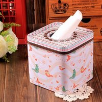 Wholesale Lovely Bird design Facial paper case Tissue Box Metal square Napkin Holder new Fashion style Houseware