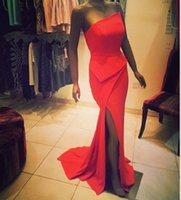 Wholesale Hot sale mermaid prom party dresses strapless split side high sexy brush train formale evening gowns BO7080