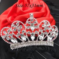 Wholesale 50pcs x31MM Princess Rhinestone Flat Backs Crystal Tiara Silver Crowns Embellishment Bridal Wedding Decorations RMM42