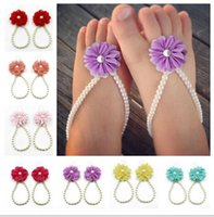 Wholesale Baby barefoot sandals cm kids anklets chain baby shoes Summer baby Barefoot Sandals Infant baby Ankle Chain LJJD3381 pairs
