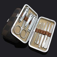 Wholesale 10 in set Nail Tools Manicure Set Nail Clippers Cuticle Grooming Kit Case Makeup Accessories Mini Manicure Kit