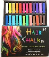 Wholesale 24 Hair Chalk Easy Temporary Colors Non toxic Hair Chalk Dye Soft Hair Pastels Kit Color Set Hair Beauty Care JF B2
