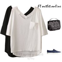 american com - European and American trade of the original single Korean loose large size women s summer new simple short sleeved V neck pocket T shirt com