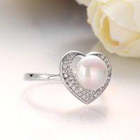 Wholesale Real Italina Rigant Genuine Austria Crystal LOVE Herat Pearl Rings for Women Anti Allergies New Sale Vintage Rings LKNPLR017