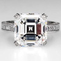 certified diamond ring - GIA Certified G SI1 Square Emerald Asscher Cut Diamond Engagement Ring