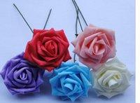 Cheap 5 Colors 8cm Artificial Foam Rose Flower Handmade DIY Wedding Home Decoration Artificial Rose Flower