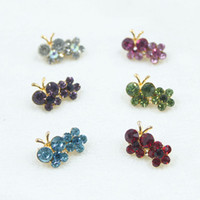 Wholesale 24pcs Muslim headscarf hijab pins Islamic scarves crystal rhinestone butterfly brooches fixed safety pins