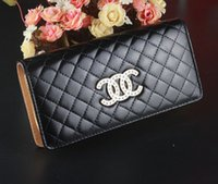 Wholesale Brand New PU Faux Leather Women Long Purse Plaid Zipper Wallet Phone Case Designer Purses For Women
