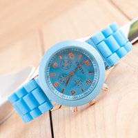 acrylic fabric - Colorful Shadow Rose Gold Colored Style Geneva Watch Rubber Silicon Candy Jelly Fashion Men Wamen Silicone Quartz Watches