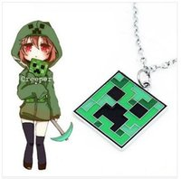 Wholesale 2014 New Fashion Jewelry Minecraft JJ My world Green strange coolie Pendant Necklace G033