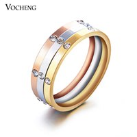 Wholesale Trend Jewelry Titanium Steel Ring Sets Combine with Colors Plating Inlay Crystal Engagement Rings Set VR Vocheng Jewelry